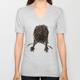 Messy dry curly hair 4 Unisex V-Neck