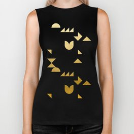 geometric black & gold Biker Tank