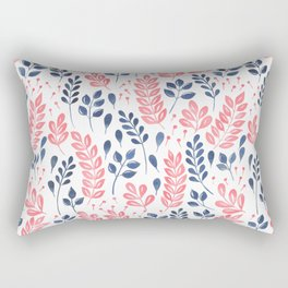 Wistful Floral - Coral and blue Rectangular Pillow