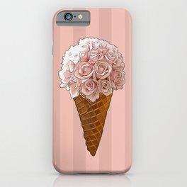 Ice Cream Cone Flower Bouquet - Pink Roses iPhone Case