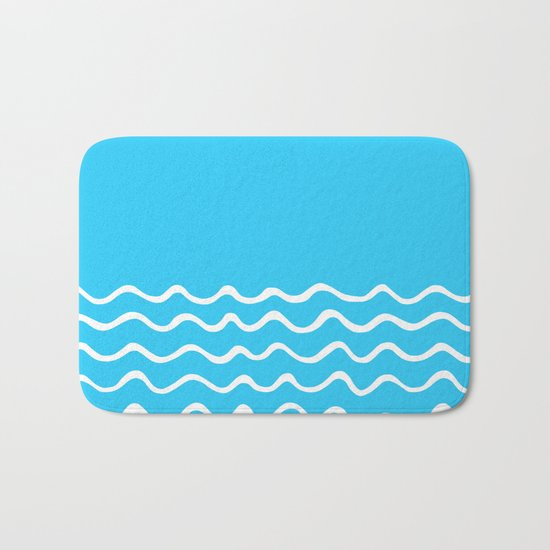 Simple aqua and white handrawn waves 1 - for your summer on #Society6 Bath Mat