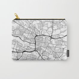 Glasgow Map, Scotland - Black and White Carry-All Pouch