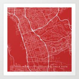 Chula Vista Map, USA - Red Art Print