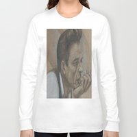 johnny cash Long Sleeve T-shirts featuring Johnny Cash by Tex Bigrancher