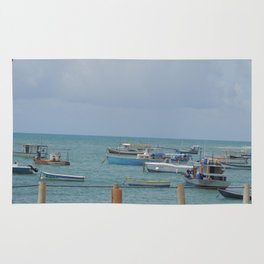 Boats in the shore Rug
