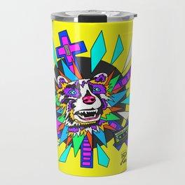 Radical Raccoon 80s Energetic Spirit Animal Pop Art Print Travel Mug