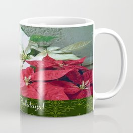 Mixed color Poinsettias 3 Happy Holidays S6F1 Coffee Mug