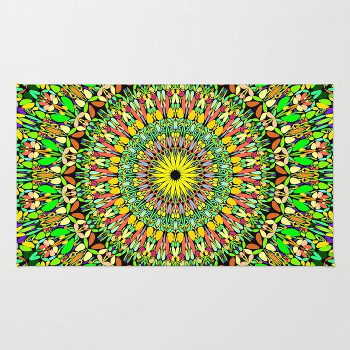Floral Sun Garden Mandala Rug