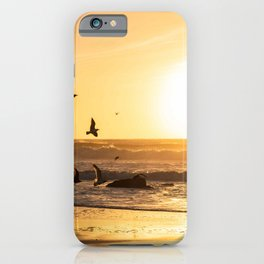 Sunset Photography, Seagulls Flying into the Sunset, California Coast Fine Art Photography, Nature Landscape Art iPhone Case