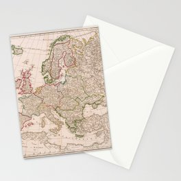 Vintage Map Print - 1751 map of Europe by Didier Robert de Vaugondy Stationery Cards