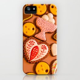 Ginger holiday cookies closeup iPhone Case