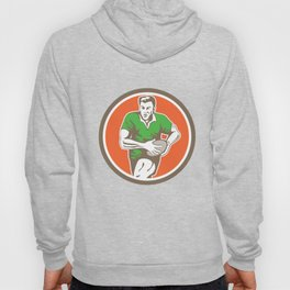 Rugby Player Running Ball Circle Retro Hoody