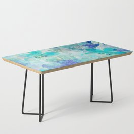 blue turquoise mixed media flower illustration Coffee Table