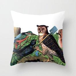 Vintage Owl with Shovel Throw Pillow