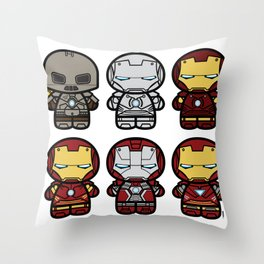 Chibi-Fi Iron Man Movie Armory Throw Pillow