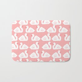 Swan minimal pattern print pink and white bird illustration swans nursery decor Bath Mat