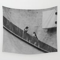 swallow Wall Tapestries featuring barn swallow parents by maedel