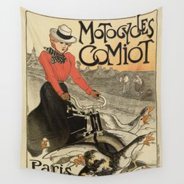 1899 vintage French motorcycle ad by Steinlen Wall Tapestry