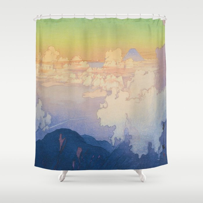 Above the Clouds (Un-Hyo) Vintage Beautiful Japanese Woodblock Print Hiroshi Yoshida Shower Curtain