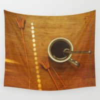 coffee Wall Tapestries featuring Coffee by Viviana Gonzalez