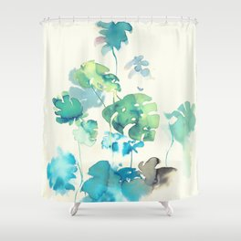 Tropical Leaves Collab. Dylan Silva Shower Curtain