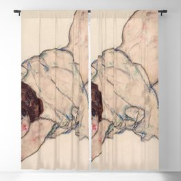 Egon Schiele - Kneeling Girl, Resting on Both Elbows Blackout Curtain