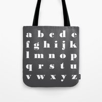 letter Tote Bags featuring letter by FlowerZen