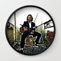 eddie vedder Wall Clocks featuring Eddie Vedder | Oil Painting by Silvio Ledbetter