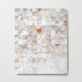 Mother of Pearl, Exotic Tiles Photography, Neutral Minimal Geometrical Graphic Design Metal Print