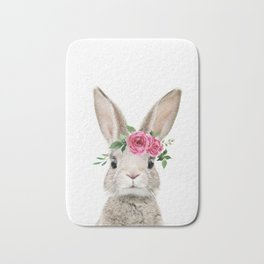Baby Bunny with Flower Crown Bath Mat