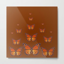 ORANGE MONARCH BUTTERFLIES COFFEE BROWN Metal Print