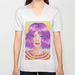 Violetta [Copic and Colored Pencil Semirealistic Portrait] Unisex V-Neck