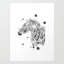 Zebra Watercolor Black and White Abstract Minimalist Art Print