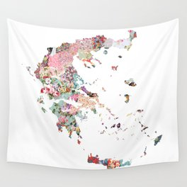 Greece map liberty Wall Tapestry