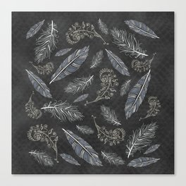 Boho Feathers and Flowering Plants Slate Grey Blue Southwestern Diamond Mosaic Canvas Print