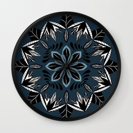 Flower and Leaves Mandala Wall Clock