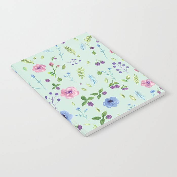 Watercolor flowers on mint Notebook