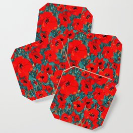 Wild Red Poppies Coaster