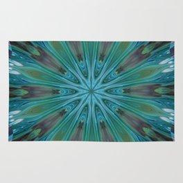 Green Peacock Feather Mandala - Kaleidocope Art by Fluid Nature Rug