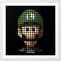 luigi Art Prints featuring Pictodotz - Luigi by dudsbessa