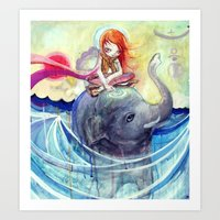 Elephant travels Art Print