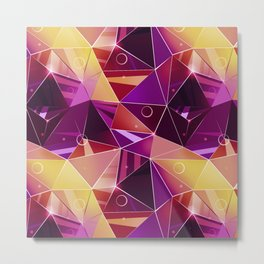 Polygonal pattern.Black, red, yellow, orange background. Metal Print