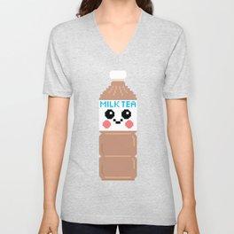 Happy Pixel Milk Tea Unisex V-Neck