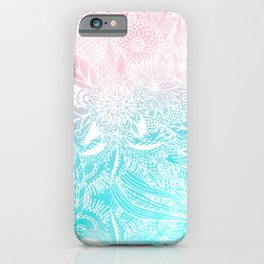 whimsy white floral mandala watercolor design iPhone Case