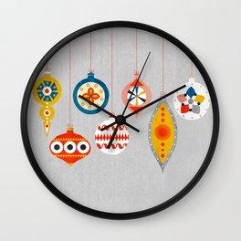 Christmas retro baubles no3 Wall Clock