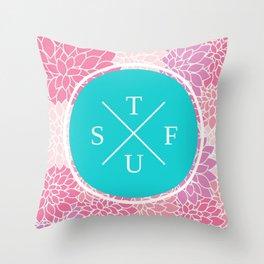 Flowery STFU Throw Pillow