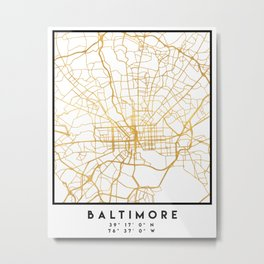 BALTIMORE MARYLAND CITY STREET MAP ART Metal Print