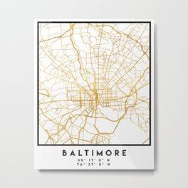 BALTIMORE MARYLAND CITY STREET MAP ART Metal Print