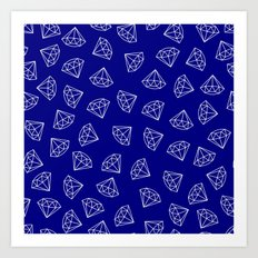 Navy Blue Diamond Pattern Art Print