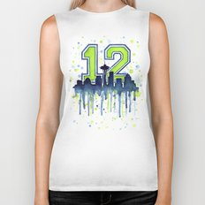 Seattle 12th Man Art Skyline Watercolor Biker Tank